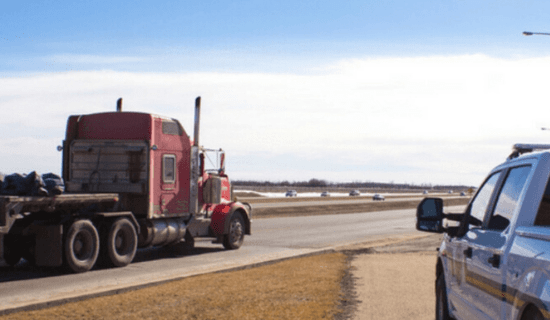 Semi truck driving on highway