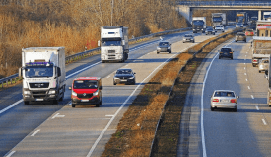 Vehicles driving on highway