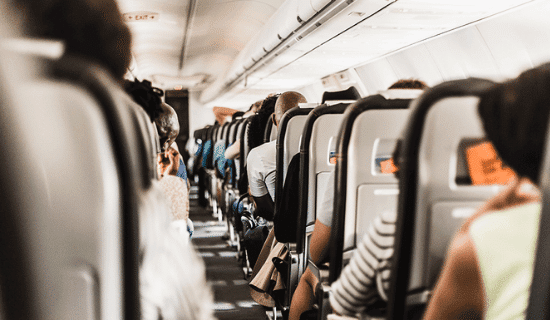 Passengers on a commercial airplane