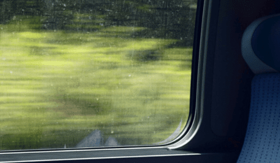 The view from a moving train