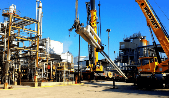 An oilfield with equipment in motion