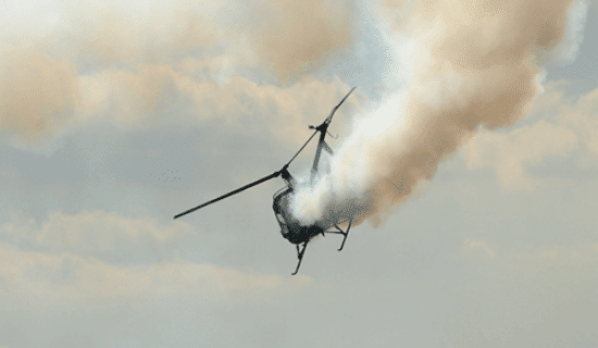 A helicopter crashing